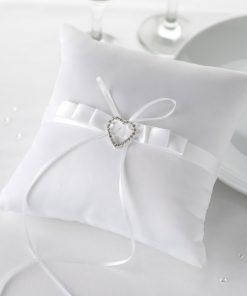 Ring Cushion White Heart