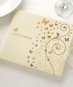 Elegant Butterflies Guest Book Gold/Ivory