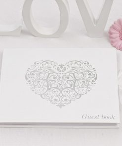 Vintage Romance Guest Book White/Silver