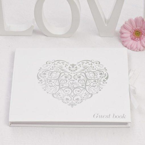 Vintage Romance Guest Book White/Silver
