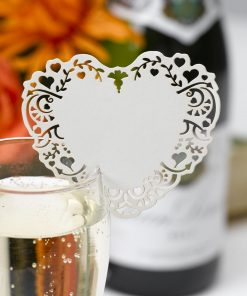 Vintage Romance - Laser Cut Place Cards for Glass - Ivory