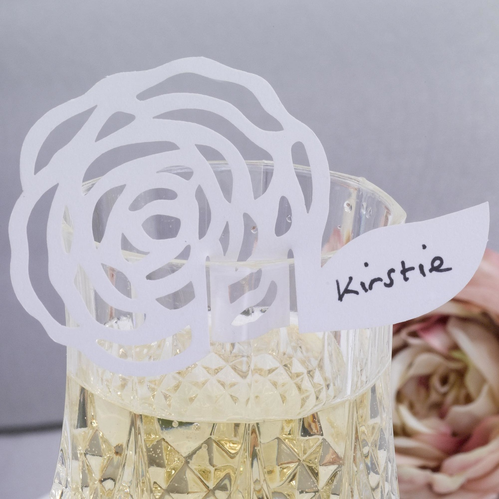 Elegant Rose Place Cards On Glass White