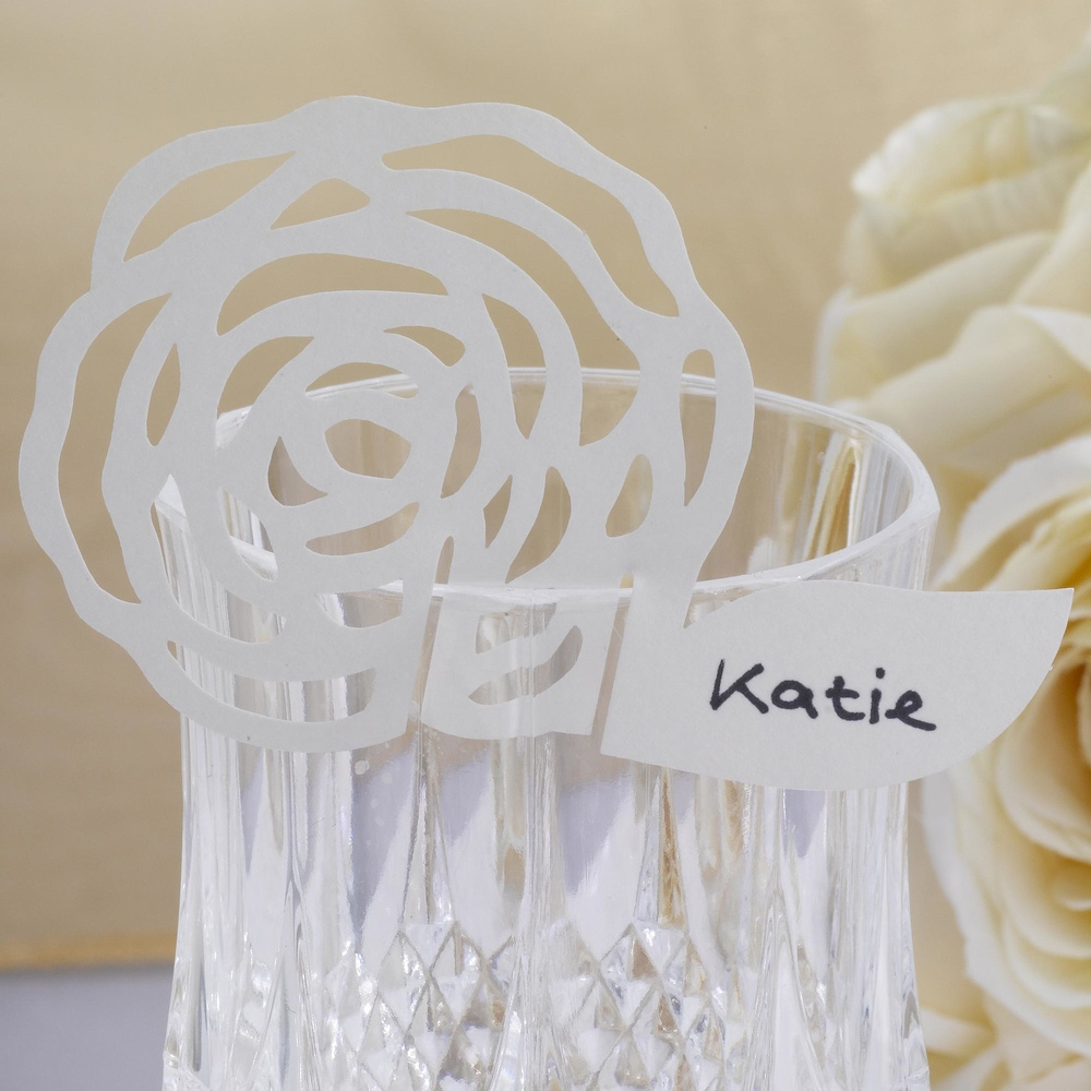 Elegant Rose Place Cards on Glass Ivory