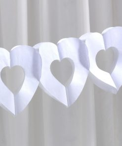White Tissue Heart Garland
