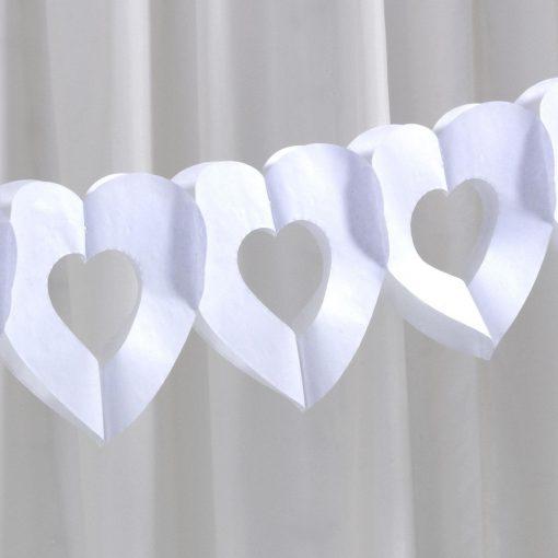 White Tissue Heart Garland