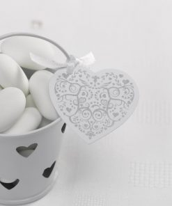 Vintage Romance Heart Tags - White/Silver