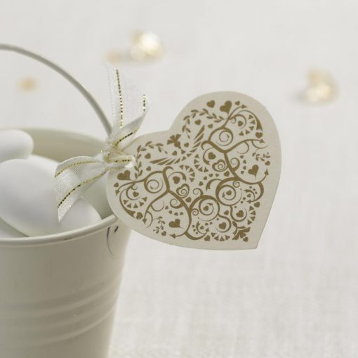 Vintage Romance Heart Tags - Ivory/Gold