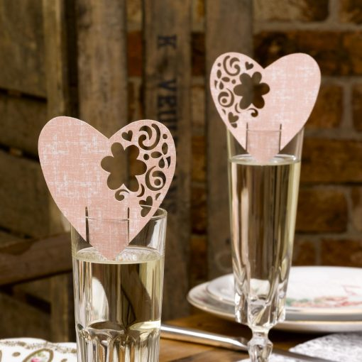 Laser Cut Place Card for Glass Pink