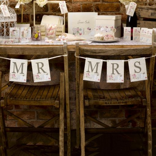 With Love Mr & Mrs Chair Bunting