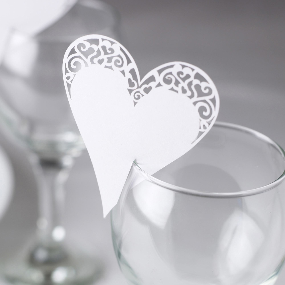 Place Card on Glass Laser Cut White Heart
