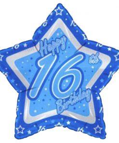 """21"""" Happy 16th Birthday Blue Star Foil"""