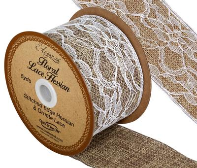 50mm Eleganza Floral Lace Hessian