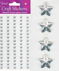 Eleganza Craft Stickers Sparkly Stars Silver