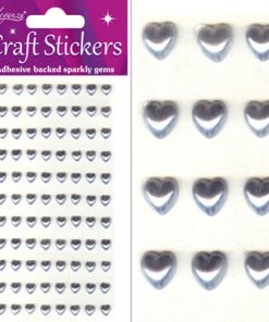 Eleganza Craft Stickers Pearl Hearts Silver