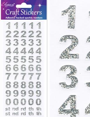Eleganza Craft Stickers Bold Numbers Silver