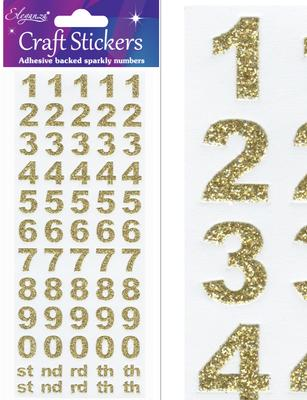 Eleganza Craft Stickers Bold Numbers Gold