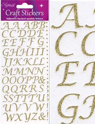 Eleganza Craft Stickers Stylised Alphabet Set Gold