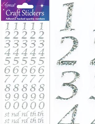 Eleganza Craft Stickers Stylised Number Silver