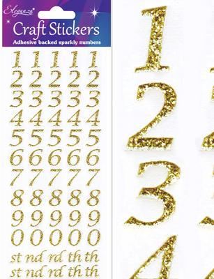 Eleganza Craft Stickers Stylised Number Gold