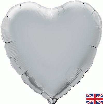 """18"""" Silver Holographic Heart"""