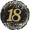 18th Sparkling Fizz Birthday Black & Gold Holographic