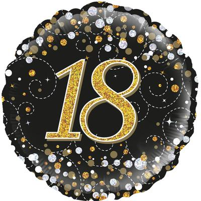 18th Sparkling Fizz Birthday Black & Gold Holographic