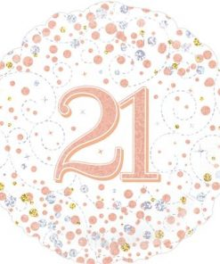21st Sparkling Fizz Birthday White and Rose Gold Holographic