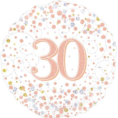 30th Sparkling Fizz Birthday White and Rose Gold Holographic