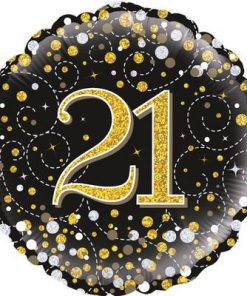 21st Sparkling Fizz Birthday Black & Gold Holographic