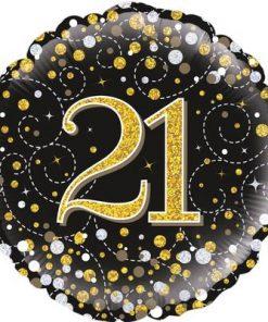 21st Sparkling Fizz Birthday Black & Gold Holographic