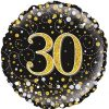 30th Sparkling Fizz Birthday Black & Gold Holographic