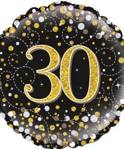 30th Sparkling Fizz Birthday Black & Gold Holographic