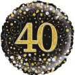 40th Sparkling Fizz Birthday Black & Gold Holographic