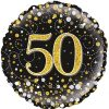 50th Sparkling Fizz Birthday Black & Gold Holographic Foil