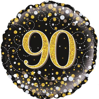 90th Sparkling Fizz Birthday Black & Gold Holographic