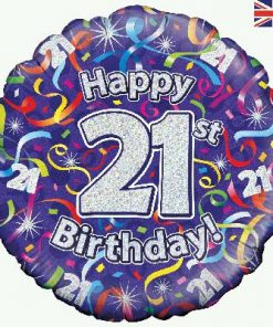 "18"" Happy 21st Birthday Streamers Holographic Foil"