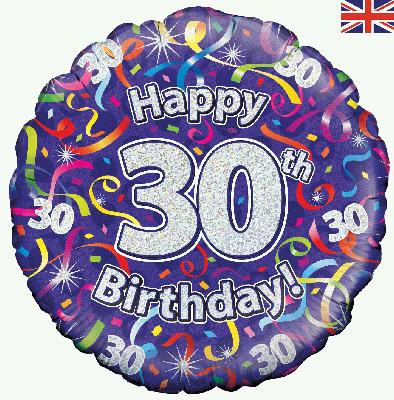 18″ Happy 30th Birthday Streamers Holographic Foil