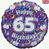 18″ Happy 65th Birthday Streamers Holographic Foil