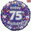 "18"" Happy 75th Birthday Streamers Holographic Foil"