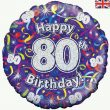 18″ Happy 80th Birthday Streamers Holographic Foil