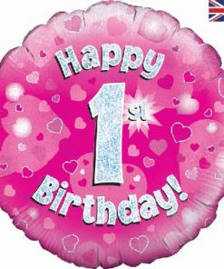 "18"" Happy 1st Birthday Pink Foil"