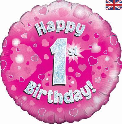 "18"" Happy 1st Birthday Pink Foil"