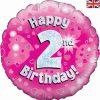 "18"" Happy 2nd Birthday Pink Foil"