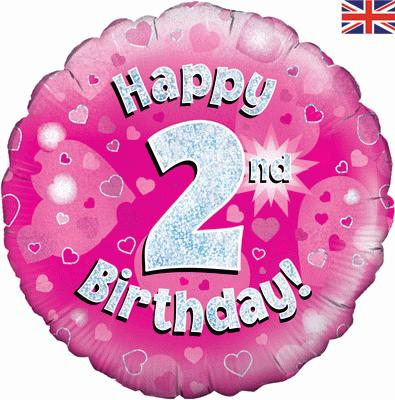 "18"" Happy 2nd Birthday Pink Foil"