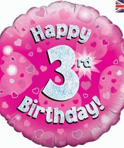 "18"" Happy 3rd Birthday Pink Foil"