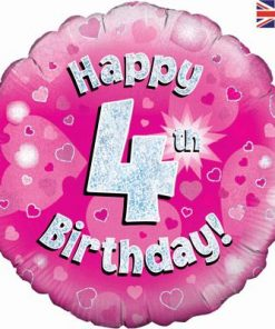 "18"" Happy 4th Birthday Pink Foil"