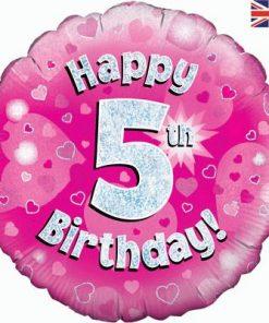 "18"" Happy 5th Birthday Pink Foil"