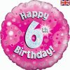 "18"" Happy 6th Birthday Pink Foil"