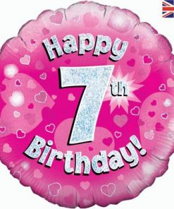 "18"" Happy 7th Birthday Pink Foil Balloon"