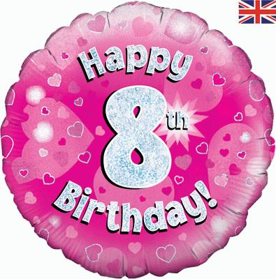 "18"" Happy 8th Birthday Pink Foil"
